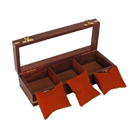 Stylish Mahogany Finished Wooden Watch Box with Cushions for 3 Watches